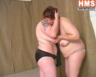 Two chubby mature lesbians at play
