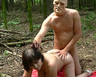 Tied up and fucked by a masked dude in the woods